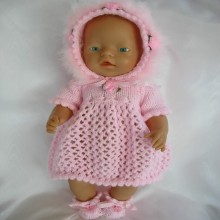 "Knitting Pattern for Dress Bonnet and Bootees to suit Baby Born and similar 16"" dolls"